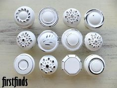 """12 Medium """"Misfit Knobs"""" Kitchen Cabinet Pulls Shabby Chic White Painted Cottage Vintage Pantry Recycled Bathroom Hardware Drawer Cupboard"""
