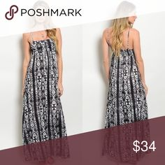Black & Ivory Tribal Spaghetti Strap Maxi Dress New with tags. Spaghetti strap lightweight maxi dress in black, charcoal, ivory mixed print. Can also be worn strapless. 100% viscose. Made in India. PRICE IS FIRM UNLESS BUNDLED. ❌SORRY, NO TRADES. Boutique Dresses Maxi