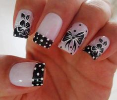 Ca-utest girly nails. Nail art, bows, flowers