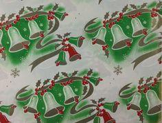 Art Deco Retro Bells Vintage 1940s Holiday Christmas Gift Wrap
