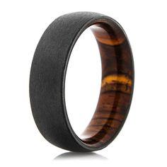 Men's Black Zirconium Ring with Cocobolo Wood Sleeve