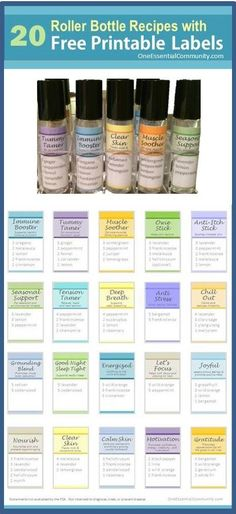 roller bottle recipes with FREE printable labels! This is awesome for my young living recipes!!