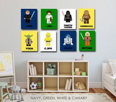 Lego Star Wars Kids Art- The Ultimate Star Wars Collection- 8 Prints With Star Wars Characters - Star Wars Nursery - Jedi Prints-LG002