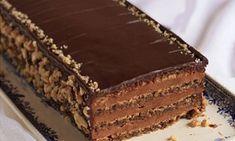 Reform torte (reforma torta), multi-layered torte with chocolate cream filling Sweet Desserts, Sweet Recipes, Cake Recipes, Dessert Recipes, Torta Recipe, Balkan Food, Serbia Recipe, Sweets, Gourmet