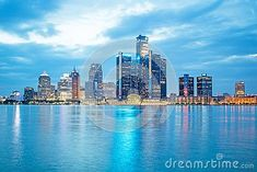 A long exposure photo of the downtown skyline of Detroit, Michigan. Image taken from across the Detroit River on the riverfront of Windsor, Ontario. Detroit Michigan, Long Exposure Photos, Windsor Ontario, New York Skyline, River, Rivers
