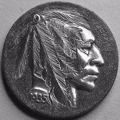 Steve Ellsworth (A recarving of his Hobo Nickel) American Coins, Native American, Indian Skull, Indian Theme, Hobo Nickel, Aesthetic Art, Art Forms, Sculpture Art, Buffalo