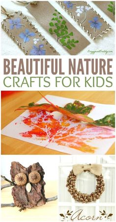 Beautiful Nature Crafts for Kids camp activities Nature Crafts, Fall Crafts, Arts And Crafts, Diy Crafts, Beach Crafts, Summer Crafts, Preschool Crafts, Crafts For Kids To Make, Projects For Kids