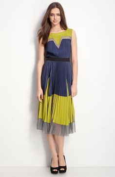 Pleated Colorblock Dress.