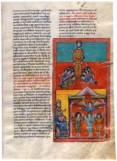 Adoración de la estatua y los hebreos en el horno. Beato de Liébana. Comentarios del Apocalipsis. España 1220 Comprado por Pierpont Morgan, 1910 MS M.429 (fol. 154)