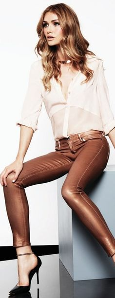 I love this outfit from Guess. I like the darker coloured jeans, and nice sheer top. It's a nice clean look without over doing it.