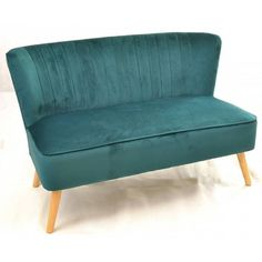 Gut FREE SHIPPING Teal Velvet 2 Seater Retro Vintage Style Sofa