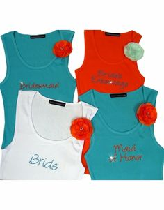 Bridal Party Tank Tops with Flower Brooch