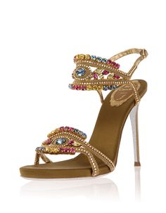 RENE CAOVILLA Pavo Crystal-embellished ankle-band sandal