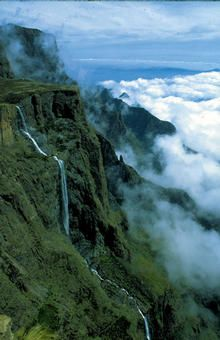 Tugela Falls is the world's second highest waterfall. The total drop in five free-leaping falls is 948 m (3,110 ft). They are located in the Drakensberg (Dragon's Mountains) in the Royal Natal National Park in KwaZulu-Natal Province, Republic of South Africa.