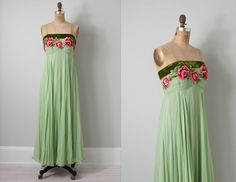 vintage 1950s floral gown / 1950s dress / silk by SwaneeGRACE, $154.00