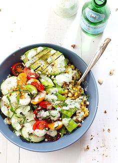 Rainbow Veggie Bowls with Jalapeño Ranch - colorful layers of veggies, grains, nuts, avocado, and homemade jalapeño ranch dressing. Yes please! 300 calories. | pinchofyum.com #salad #recipe #vegetarian #healthy #ranch