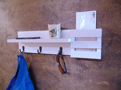 Wall Shelf with Hooks Mail Holder Mail Organizer Key