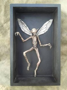 Items similar to BIG framed Mummified Fairy / made for order on Etsy Creepy Art, Creepy Dolls, Magical Creatures, Weird Creatures, Halloween Crafts, Halloween Decorations, Wings Design, Gnome, Bizarre