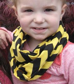 Baby Child Toddler Yellow and Black BUMBLEBEE Chevron Scarf Photo Prop by ChevronScarf
