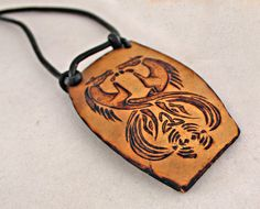 Pyrography Woodburned Gourd Celtic Art Pendant  Kelpies Twin Gemini Irish Mythology Hand Made Fantasy Jewelry
