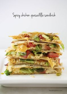 Spicy chicken quesadilla sandwich ...a yummy twist on your basic cheese crisp! #lunch #recipes Rotisserie Chicken Salad, Chicken Quesadillas, Lettuce, Guacamole, Heart, Spicy, Chili, Stuffed Peppers, Sandwiches