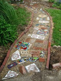 Boho walkway…. Use old & new bricks, salvaged tiles, broken dishes & other eclectic bits.