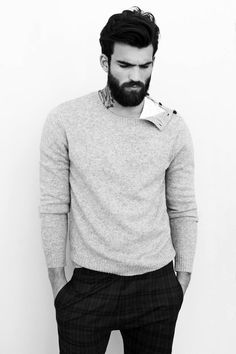 Hair, beard, sweater.
