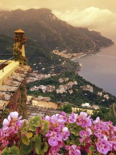 Sea and flowers in Ravello, Italy