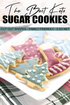 Don't pass up holiday cookies just because you are keto! These easy keto roll out cookies are tender and crisp, and perfect for decorating. Kids love these sugar-free sugar cookies too! keto benefits for women Keto Cookies, Cut Out Cookies, Low Carb Sweets, Low Carb Desserts, Dessert Recipes, Keto Recipes, Sugar Cookie Recipe Easy, Rolled Sugar Cookies, Cookie Recipes
