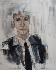 Male Expressionist PORTRAIT ORIGINAL PAINTING  Gray Artus