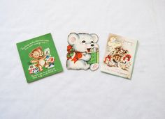Three vintage bear Christmas cards by HappyCloudImports on Etsy, $3.00