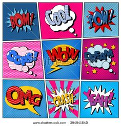 Comic Bubbles Set. Expressions Bom, Cool, Pow, Oops, Wow, Dream, Omg, Crash, Yeah. Halftone Background. Pop Art. Vector illustration