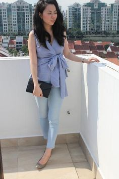 Kelsie Front Tie Top in Checkered Blue  (SGD29.90) ) Come on in to www.theluxeparade.com to shop this look