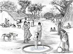 Indian villagers at the well Village Scene Drawing, Art Village, Indian Village, Perspective Drawing Lessons, Perspective Sketch, Composition Drawing, Picture Composition, Landscape Sketch, Landscape Drawings