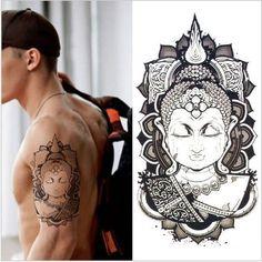 Arm Tatoo 3d Men Buddha Tattoos Design Waterproof Temporary Tattoo Large Body…