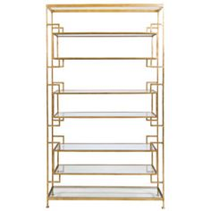 Worlds Away Lamar Gold Leaf Etagere WALAMARG