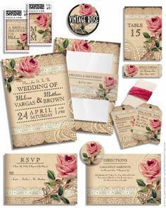 invitaciones de boda vintage para una boda retro