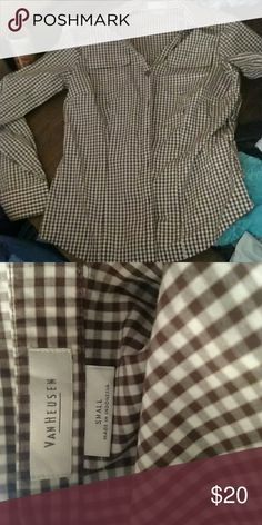 Dress shirt button down Brown and off white checkered dress shirt Van Heusen Tops Button Down Shirts