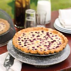 Raspberry Custard Pie: Martha goes a little crazy with the pie crust, but I think it can be done with a frozen one.  Sounds lovely. :)