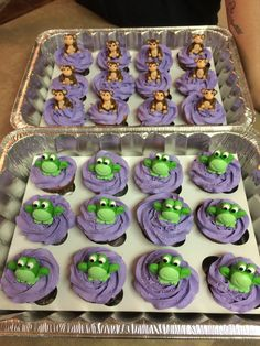 Strawberry cupcakes with purple colored strawberry buttercream an MMF frogs and monkeys for my daughter's 30th birthday