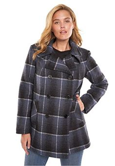 79d39fc7f8aab Women s Plus Size Wool-Blend Double-Breasted Peacoat Blue Ombre Plaid
