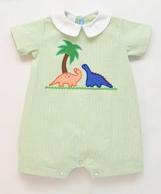 9f64c6006bf3 Monday s Child Green Stripe Dinosaur Appliqué Romper - Infant by Monday s  Child  zulily  zulilyfinds