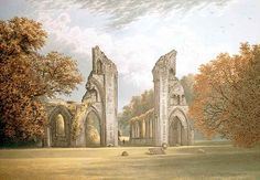 The ruins of Glastonbury Abbey, one of the oldest and most influential Benedictine houses in medieval England.  In 1539, the monastery was dissolved and the last Abbot was executed, along with two other monks.  The remaining monks were dispersed, the treasures of the monastery were carried off, and the buildings left to fall into ruin.