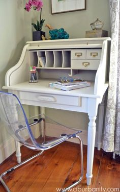 Great painted roll top desk from Ciburbanity.  The color is GF Antique White and we love the simple yet classic look!