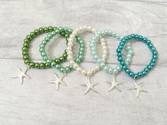 Starfish Bracelets, Party Bracelets, Girls Bracelet, Party Gift, Party Favours, Loot Bags, Party Bag Fillers, Ocean Party, Under the Sea by BeadKids on Etsy