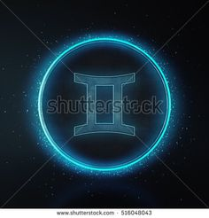 Astrology Zodiac Signs or symbol. Call Gemini. Metallic silver and light on black background. Glowing and shining blue neon style. 3D Rendering.