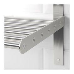 GRUNDTAL Wall shelf, stainless steel stainless steel 31 1/2