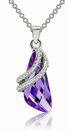 Amazon.com  Fluid Wing Austrian Crystal Pendant Necklace (Purple) 2045801   Jewelry a7d06ec24cf2