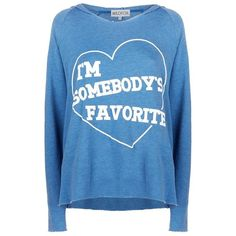 Wildfox I'm Somebody's Favourite Hoodie ($155) ❤ liked on Polyvore featuring tops, hoodies, shirts, blue hooded sweatshirt, relaxed fit shirt, wildfox hoodie, slouchy shirt and blue hoodie