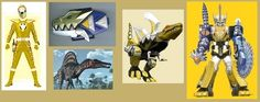 The Gold Dino Thunder Ranger, his Morpher, Spinosaurus spirit, and SpinoZord with its Megazord form. Power Rangers Series, New Power Rangers, Pawer Rangers, Power Rangers Pictures, Libro Gravity Falls, Power Rangers Cosplay, Power Rangers Megazord, Go Busters, Fanart